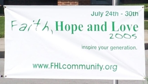 This was the first banner displayed at a few locations in Castleton and Nora areas in July 2005.