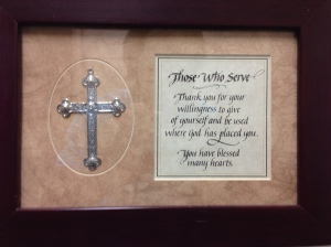 This plaque was displayed at the entrance of the food pantry rooms